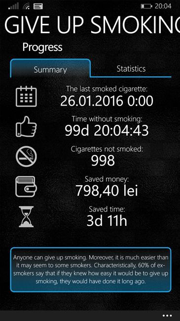 renunta, fumat, tigari, numara, economiseste, Windows 10 Mobile, Windows Phone