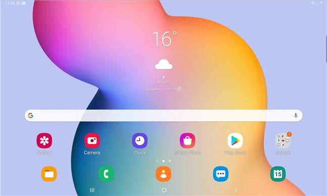 Ecranul de pornire al tabletei Samsung Galaxy Tab S6 Lite