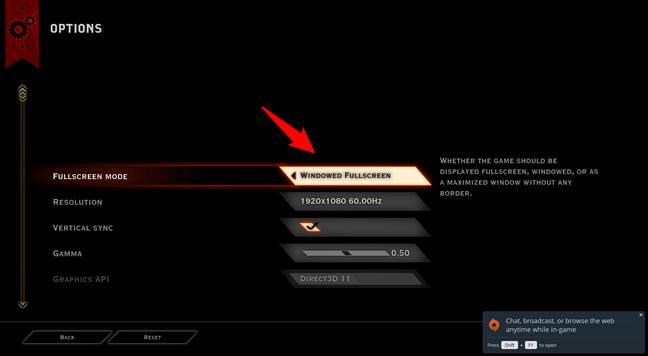 Configurarea Dragon Age: Inquisition pentru a rula în modul fereastră pe tot ecranul