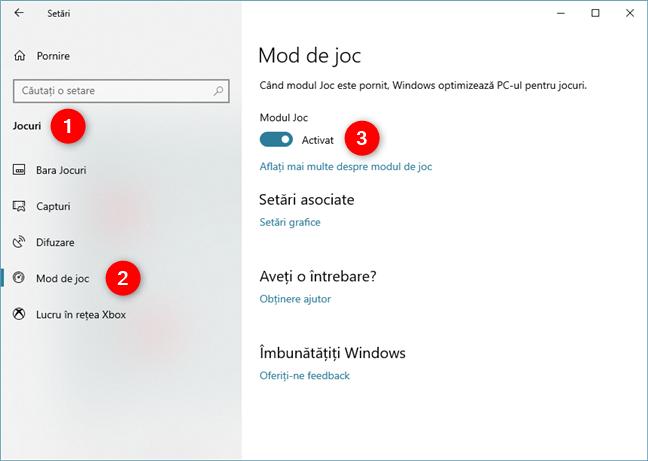 Activarea Modului de joc în Windows 10