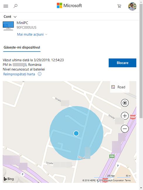 Ultima locație și harta pentru Găsește-mi dispozitivul