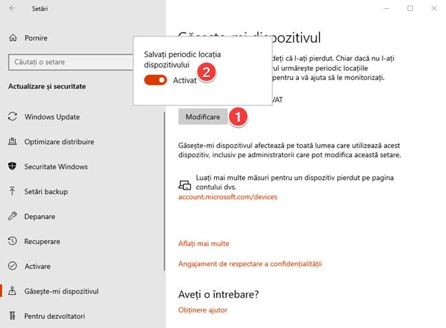 Activează Găsește-mi dispozitivul în Windows 10