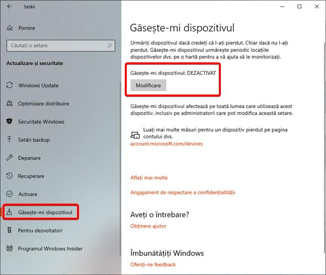 Găsește-mi dispozitivul este dezactivat în Windows 10
