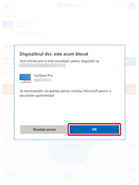 Confirmare de blocare la distanță