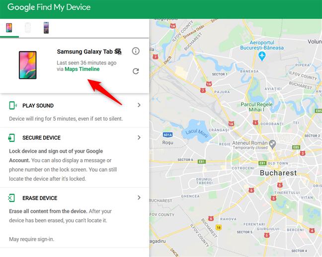 Selectează dispozitivul pe care încerci să-l găsești
