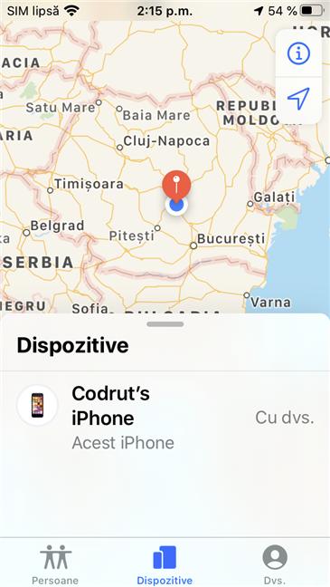 Găsire iPhone afișând locația unui iPhone