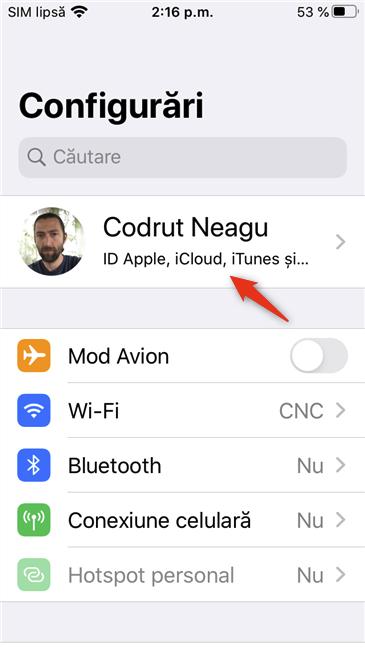 Intrarea ID Apple din aplicația Configurări