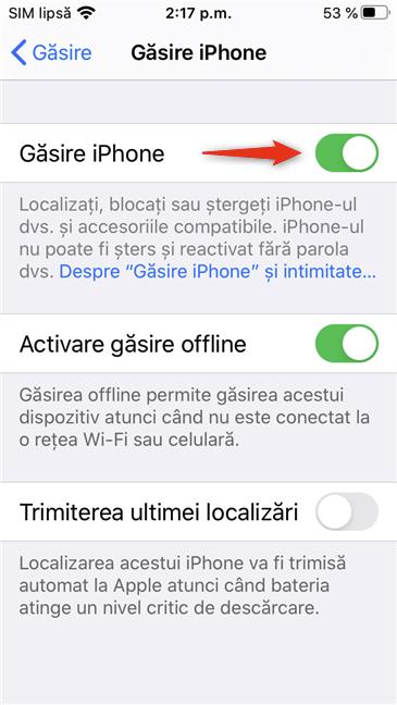 Comutatorul Găsire iPhone