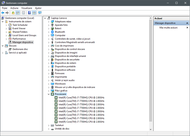 Gestionare computer, Windows, administrare, servicii, disc, partitii, retea, performanta