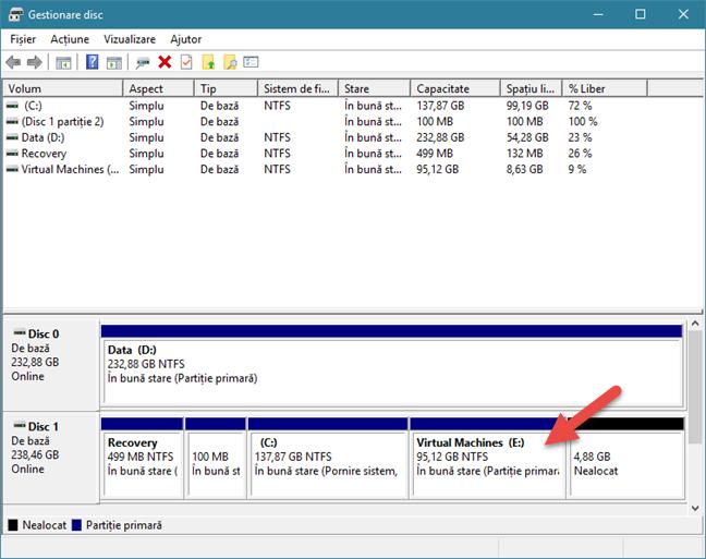 Gestionare disc, partitii, Windows