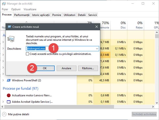 Gestionare disc, Disk Management, Windows
