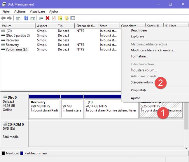Windows, sterge, partitie, disc