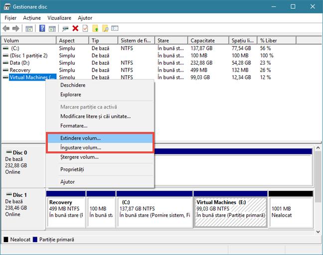 Windows, Gestionare disc
