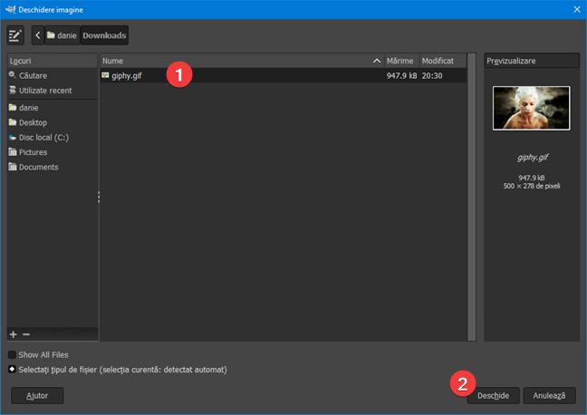 Deschide un fișier GIF în GIMP