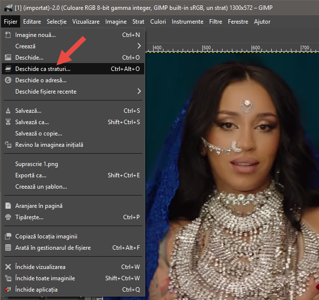 Deschiderea ca straturi a următoarelor imagini din animația GIF, în GIMP
