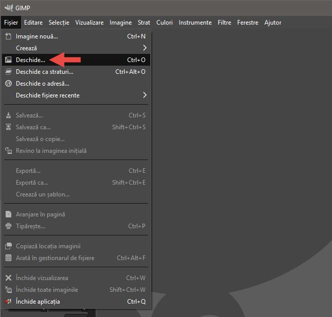 Deschiderea primei imagini pentru animația GIF, folosind meniul Fișier din GIMP