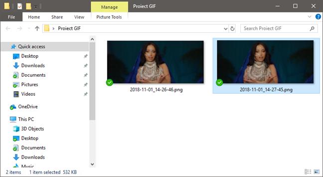 Selectarea imaginilor pe care le folosim pentru animația GIF