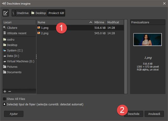 Răsfoirea prin PC și selectarea primei imagini pe care o folosim
