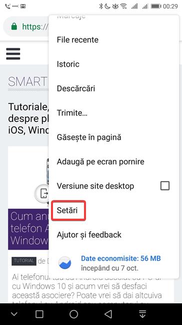 Deschide setările Google Chrome pentru Android