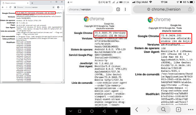 Folosirea chrome://version în Windows, Android și iOS
