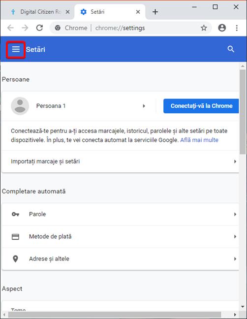 Deschide Meniul principal de Setări în Google Chrome pentru Windows