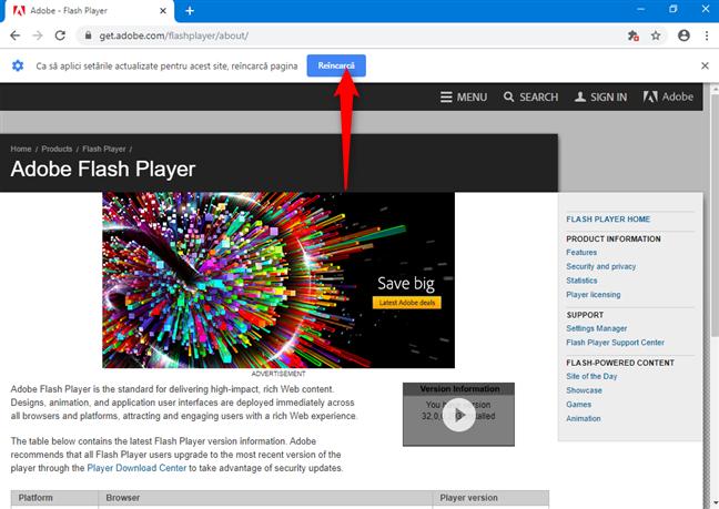 Reîncarcă pentru a vedea conținutul Flash în Chrome