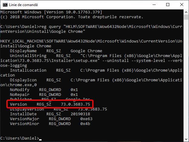 Vezi versiunea de Google Chrome în Linia de comandă
