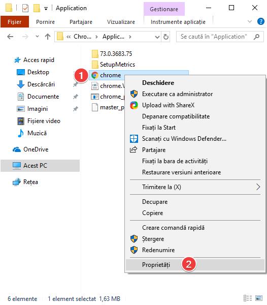 Deschide proprietățile pentru chrome.exe în Windows
