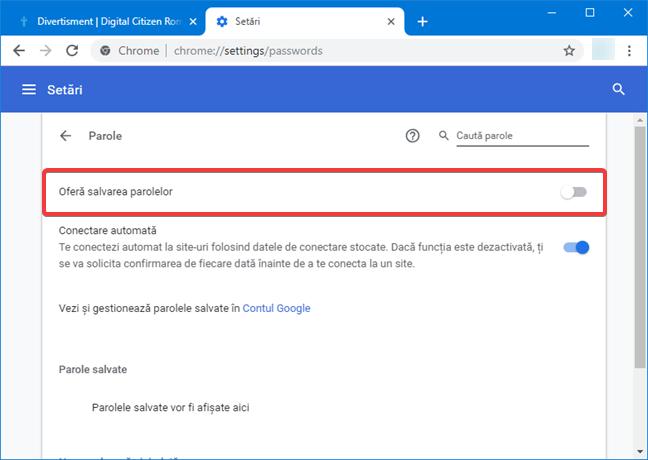 Oprește oferta de salvare a parolelor în Google Chrome