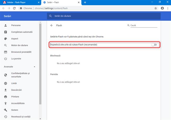 Comutatorul care blochează conținutul Flash în Google Chrome