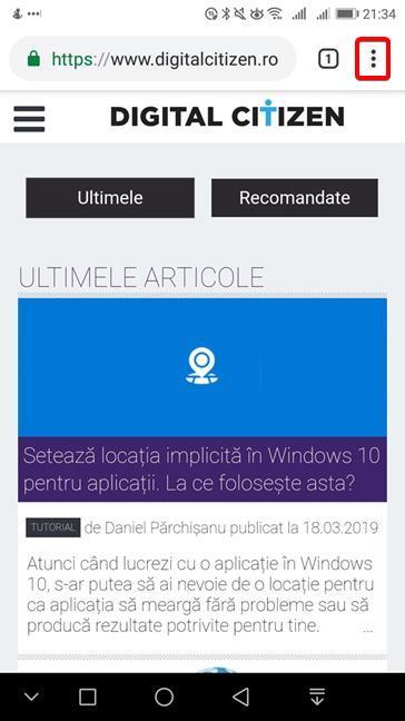 Deschide meniul în Google Chrome pentru Android