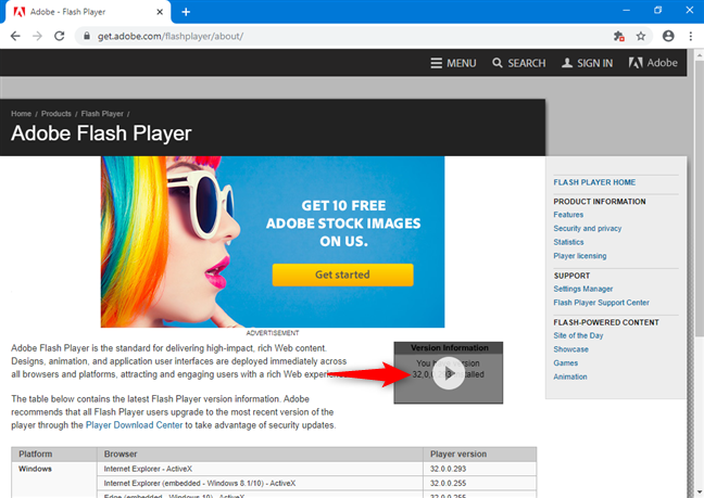 Conținutul Flash vizibil afișează versiunea de Adobe Flash Player