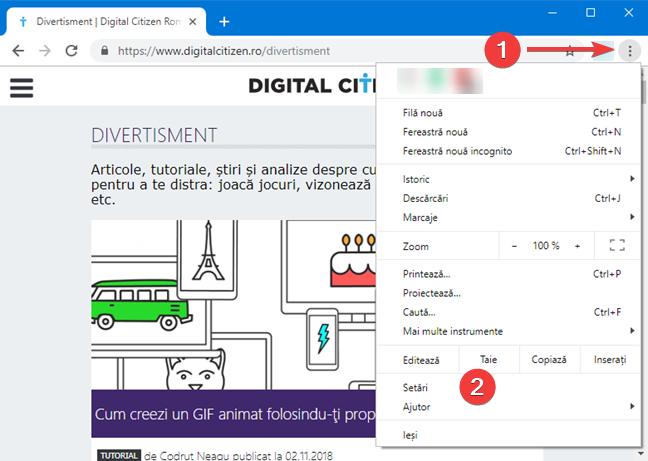 Deschide setările Google Chrome în Windows
