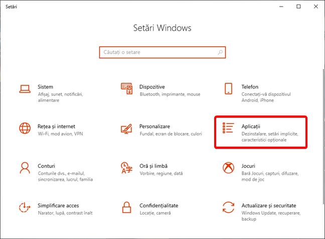 Deschide Aplicații în Setări din Windows 10