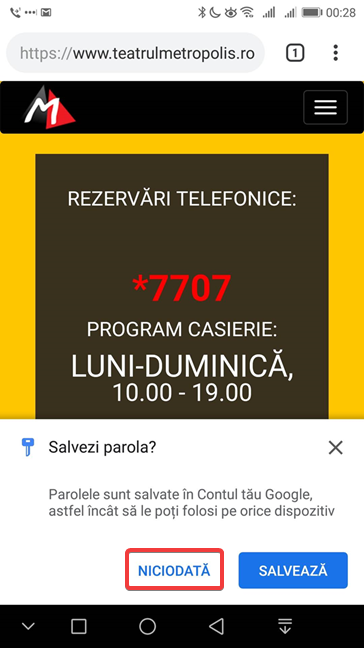 Google Chrome pentru Android întreabă dacă vrei să salvezi parola