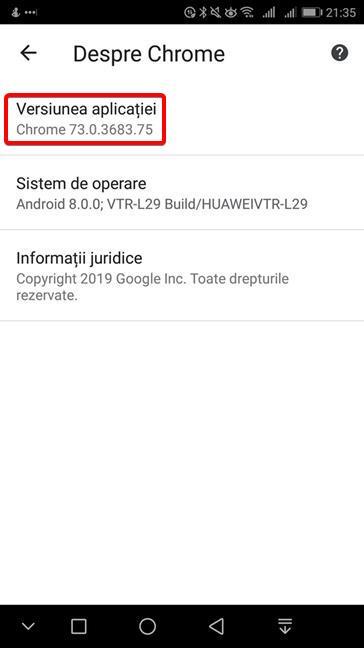 Versiunea de Google Chrome afișată în Android