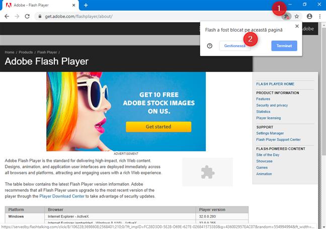 Dă clic pentru a gestiona setările despre Flash din Google Chrome