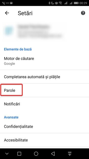 Accesează setările pentru parole în Google Chrome pentru Android