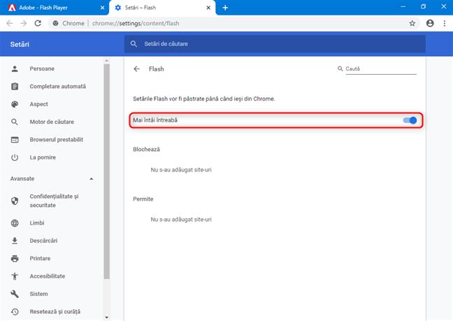 Dă clic sau apasă pe comutator și Chrome va întreba despre conținutul Flash