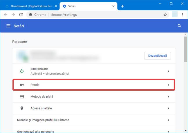 Accesează Parole în setările de Google Chrome