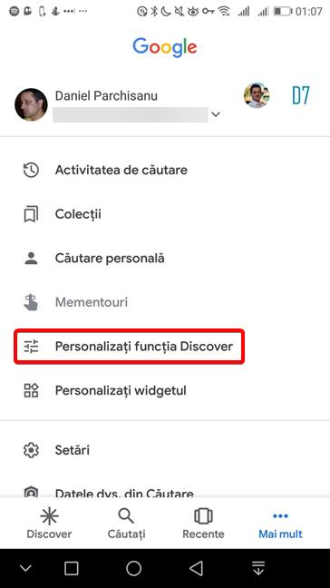 Personalizați funcția Discover în aplicația Google