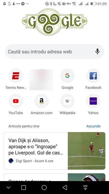 Google Discover în Google Chrome