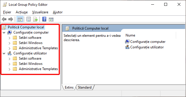 Categoriile Local Group Policy Editor