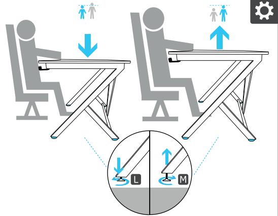 Ajustarea înălțimii picioarelor biroului Trust GXT 711 Dominus