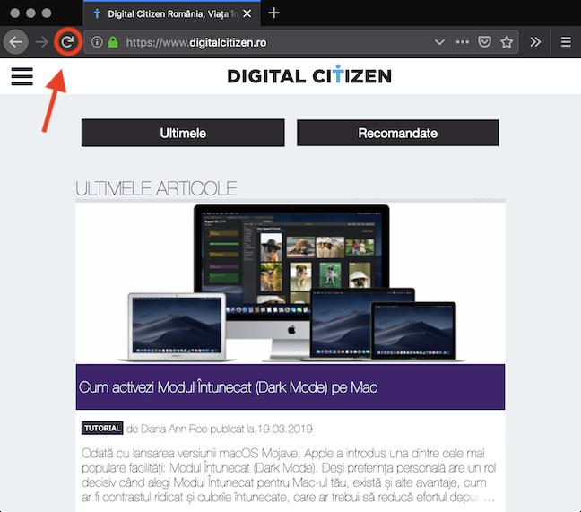 Butonul <em>Reîncarcă</em> în Mozilla Firefox
