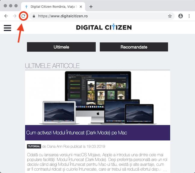 Butonul <em>Reîncarcă</em> în Google Chrome