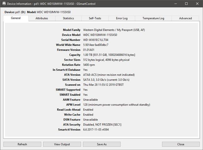 GSmartControl afișând detalii despre identitatea unui HDD
