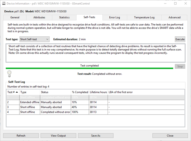 Teste de HDD oferite de GSmartControl