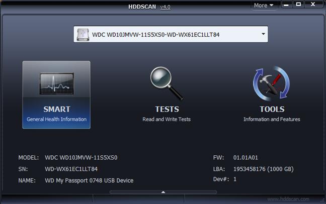 Interfața de utilizare a HDDScan
