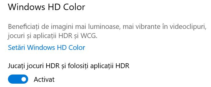 Activează HDR pentru aplicații și jocuri